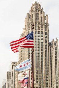 American Flags by Chicago Tower