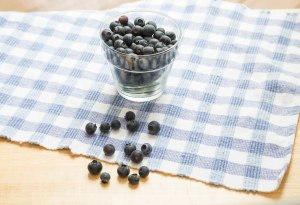 Blueberries in Glass and on Table