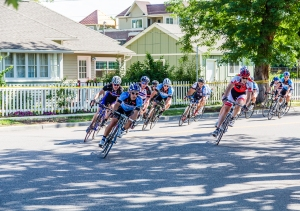 Professional bicycle race through residential streets of Denver, Colorado