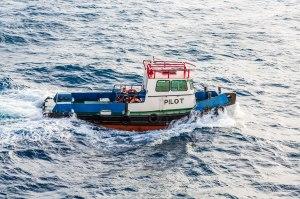 Pilot Boat Cutting Through Choppy Sea