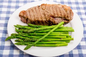 Asparagus on Plate with Steak