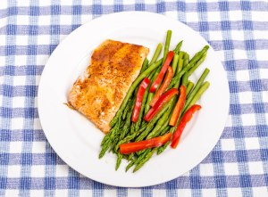 Baked Salmon with Asparagus and Red Peppers