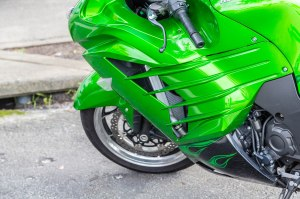 Green Cowling on Sports Bike