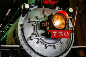 Light on the front of an old train locomotive