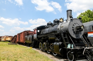 Classic old American railroad engine and train